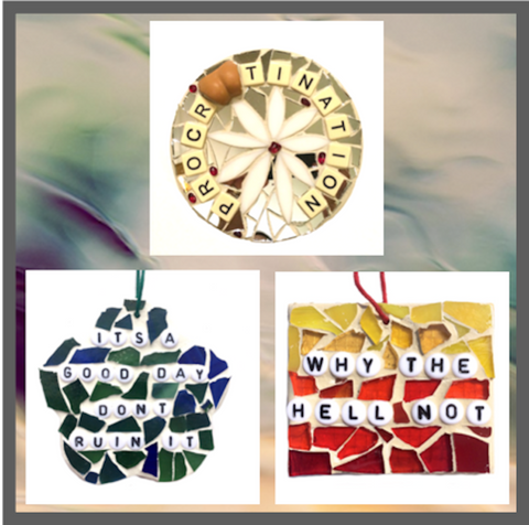 GAG GIFT COLLECTION.  ProcrASStination Mosaic. Stained Glass Ornaments. Fun Humorous Gifts.