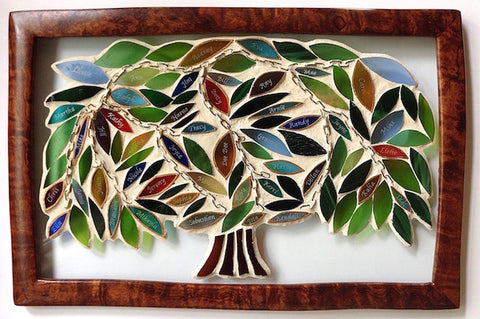 FAMILY TREE Stained GLASS Mosaic. Inspirational Panel. Genealogy. Roots. Family History.