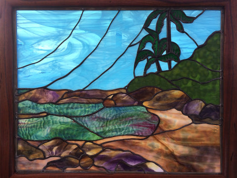 HAWAII STAINED GLASS Panel. Seascape Palm Trees Ocean.