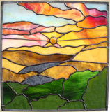 "STAINED GLASS PANEL Window Sunrise Sunset ""Inspiration""."