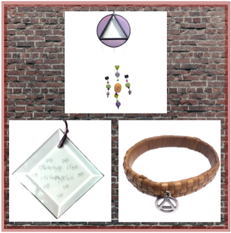 RECOVERY GIFT COLLECTIOIN. Stained Glass Triangle and Circle. Engraved Bevel. Lauhala Bracelet.