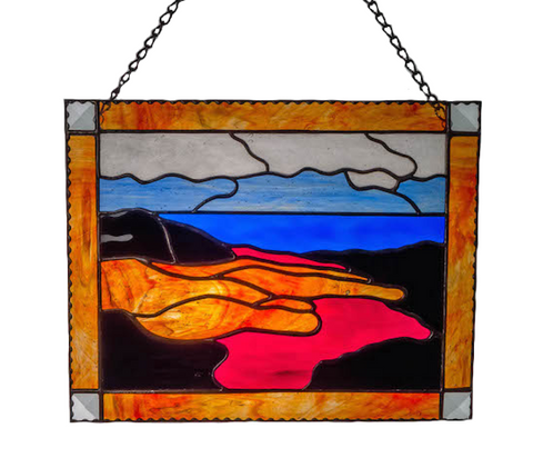 HAWAII VOLCANO PANEL. Stained Glass. Madam Pele Flowing Lava. Healing Hand. Made in Hawaii. Big Island.