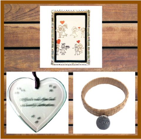 WELLBEING SELF-LOVE Collection. Lauhala Love Bracelet. Inspiration Quote Bevel. Mosaic Frame.