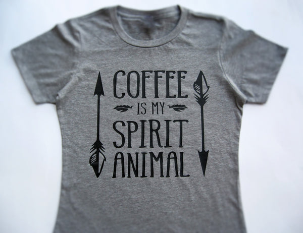 Coffee Is My Spirit Animal T-Shirt, Funny t-shirt, Coffee lovers shirt. - Fun Trendy Tees