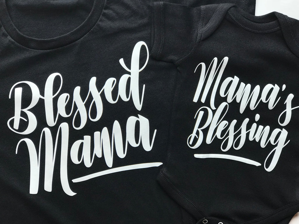 Blessed Mama and Mama's Blessing Mommy and Me Shirt set. - Fun Trendy Tees