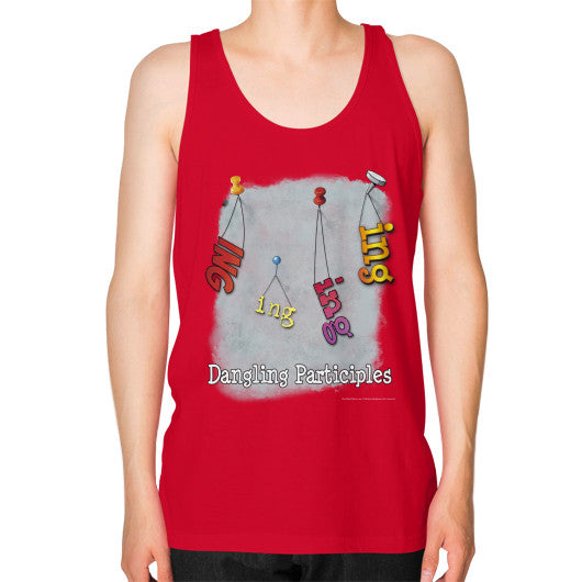Unisex Fine Jersey Tank (on man) Red WordPlay T-Shirts
