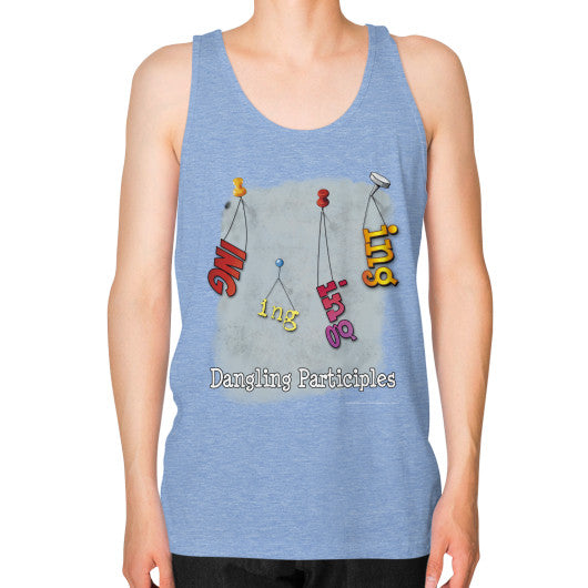Unisex Fine Jersey Tank (on man) Tri-Blend Blue WordPlay T-Shirts