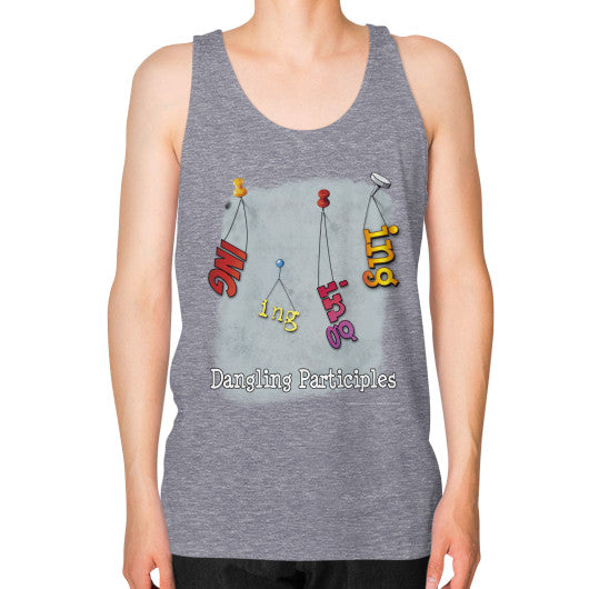 Unisex Fine Jersey Tank (on man) Tri-Blend Grey WordPlay T-Shirts
