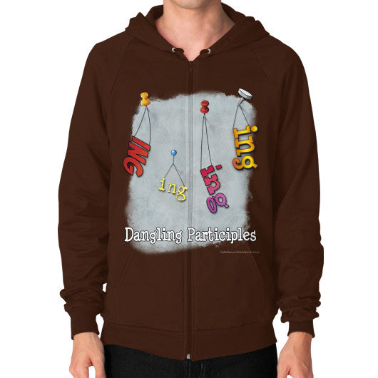 Zip Hoodie (on man) Brown WordPlay T-Shirts