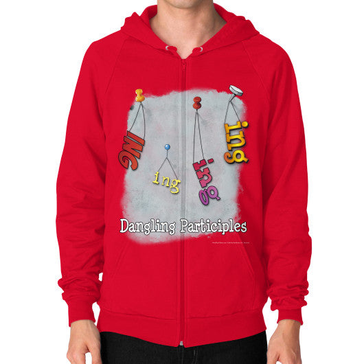 Zip Hoodie (on man) Red WordPlay T-Shirts