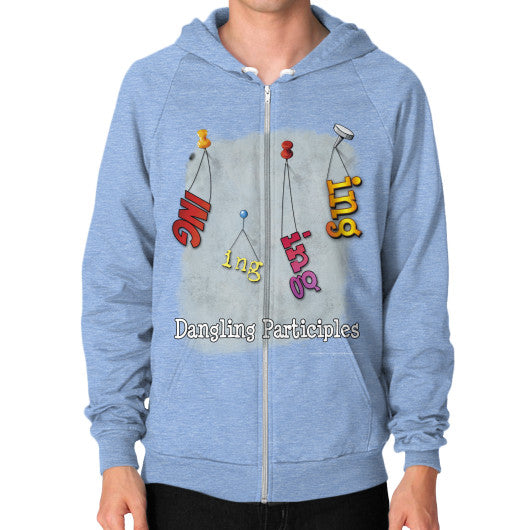 Zip Hoodie (on man) Tri-Blend Blue WordPlay T-Shirts