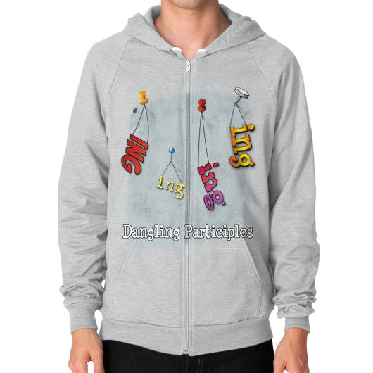 Zip Hoodie (on man) Tri-Blend Silver WordPlay T-Shirts