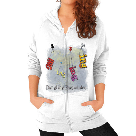 Zip Hoodie (on woman) White WordPlay T-Shirts