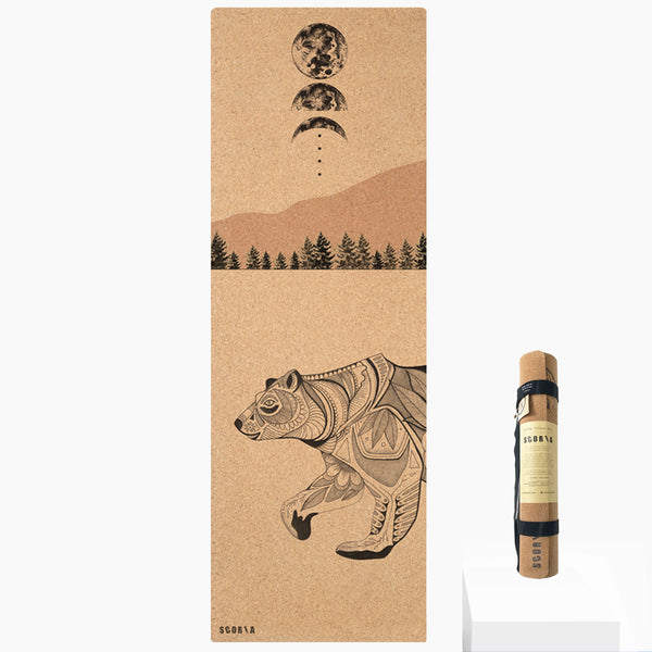 Night Bear Cork Yoga Mat | 3.5-4.5MM | Collab Edition - Scoria