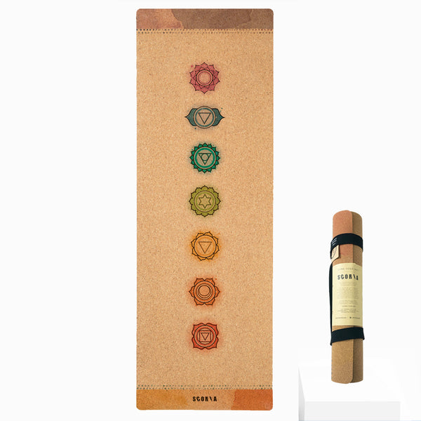 Chakras Cork Yoga Mat | 4.5MM - Scoria