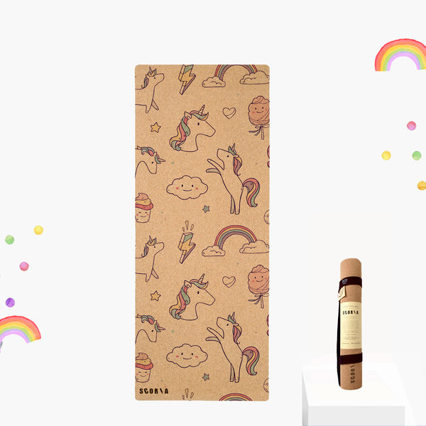 Kids Unicorn Non-Toxic Cork Yoga & Play Mat (BIG) - Scoria