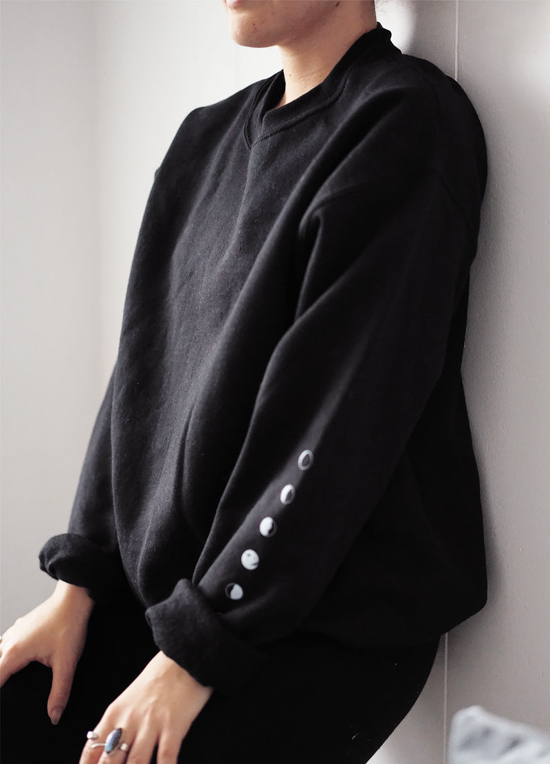 Moon Phases Black Sweatshirt - Scoria
