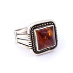 Men's Amber Notch Ring : Size 13