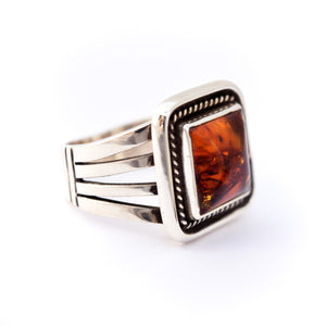 Men's Amber Bevel Ring : Size 10.25