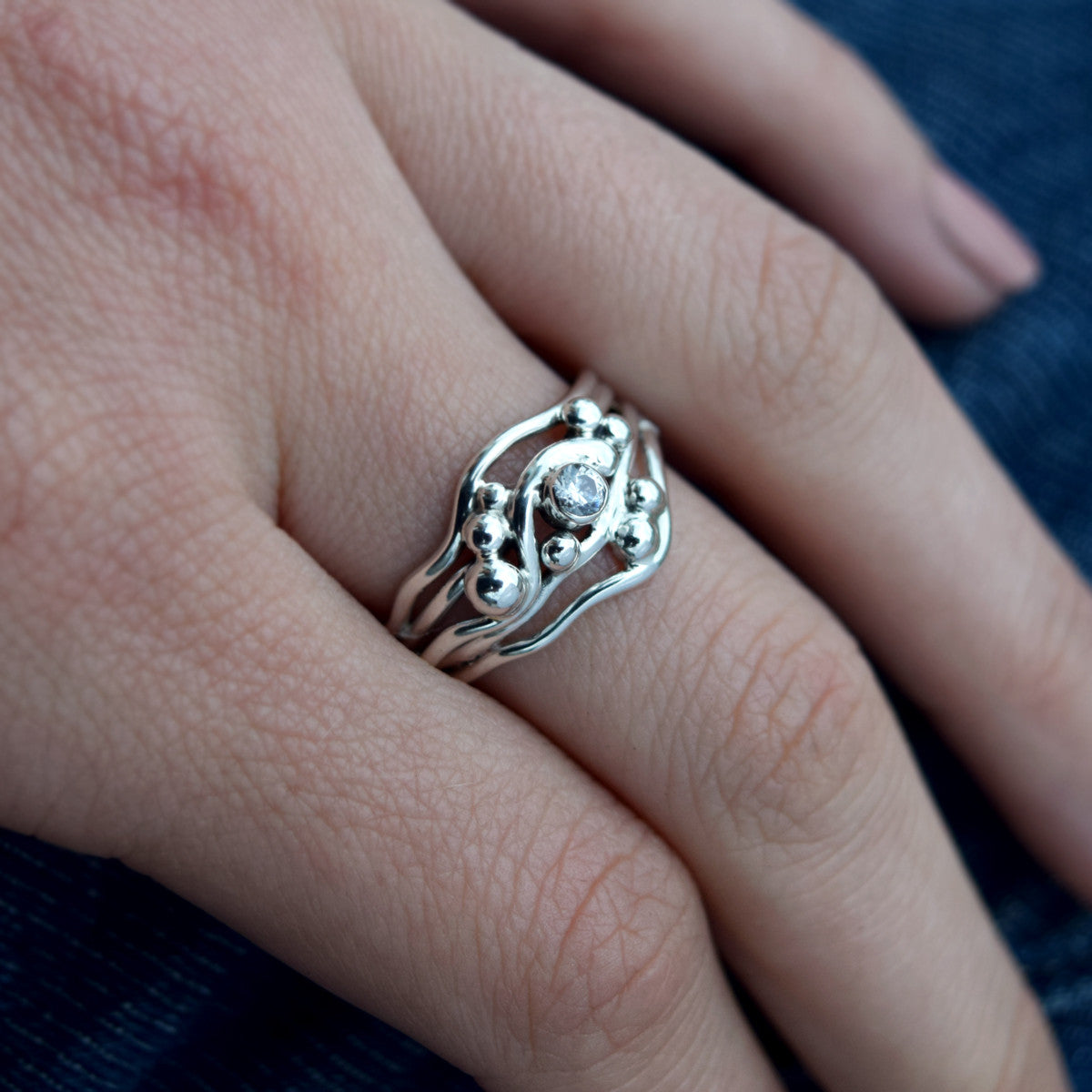 Brutalist White CZ Ring : Size 7.5