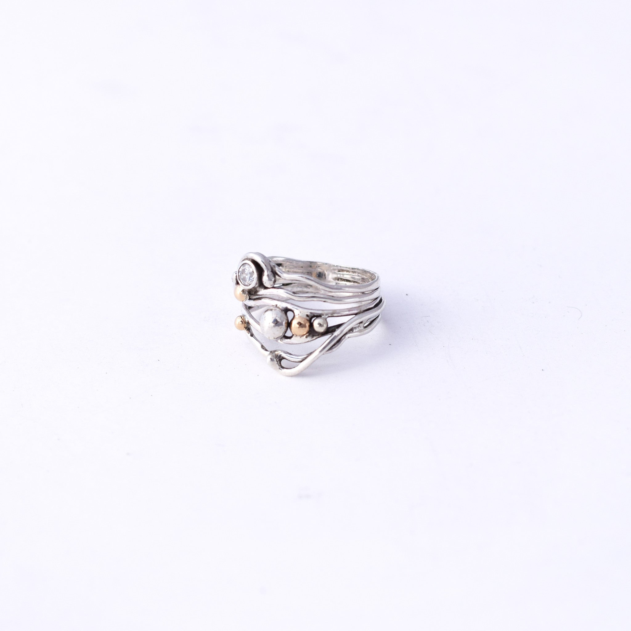 Brutalist 14K, Sterling and White CZ Ring : Size 5.5