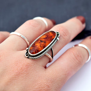 Amber Filigree Ring : Size 7.75