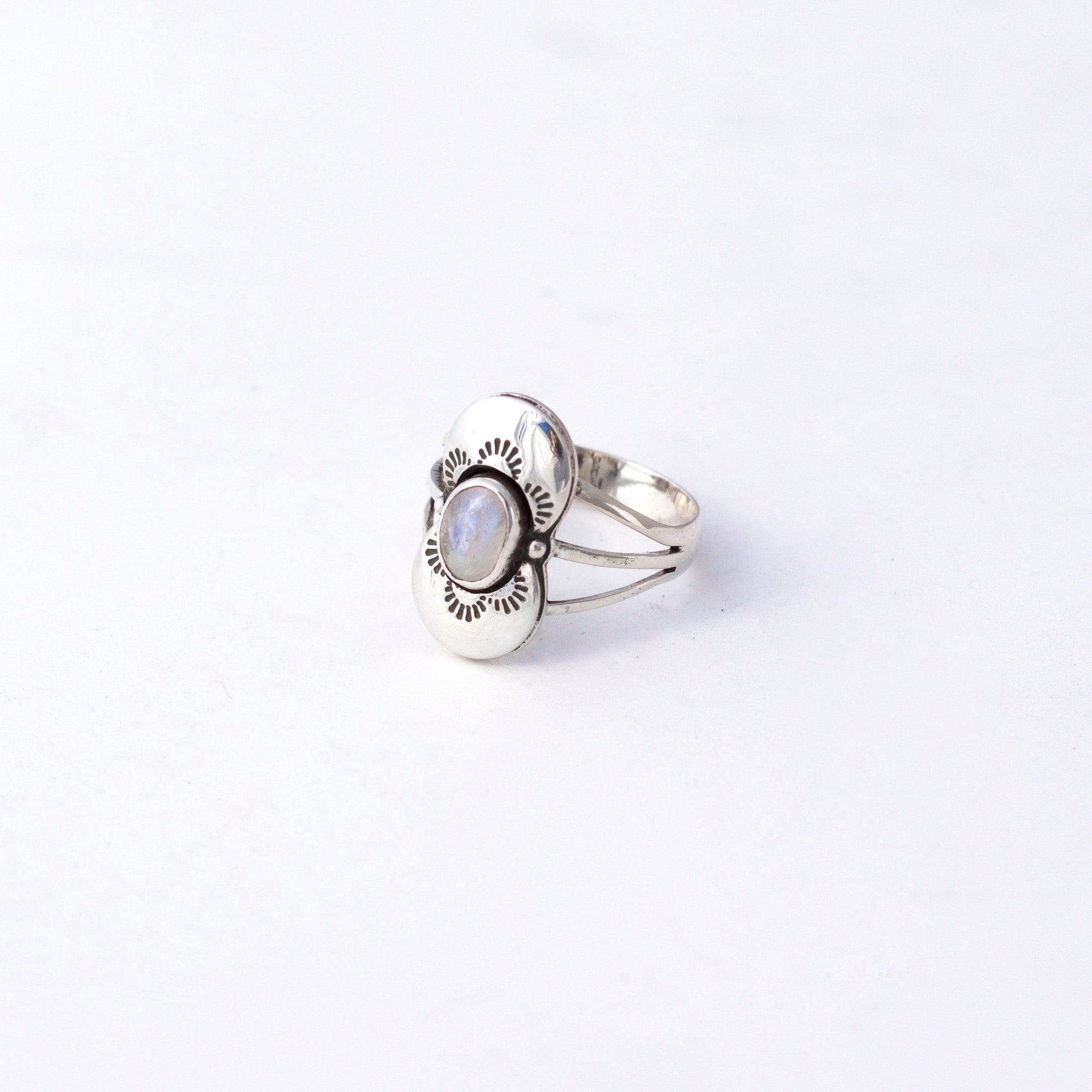 Stamped Moonstone Ring : Size 7.25