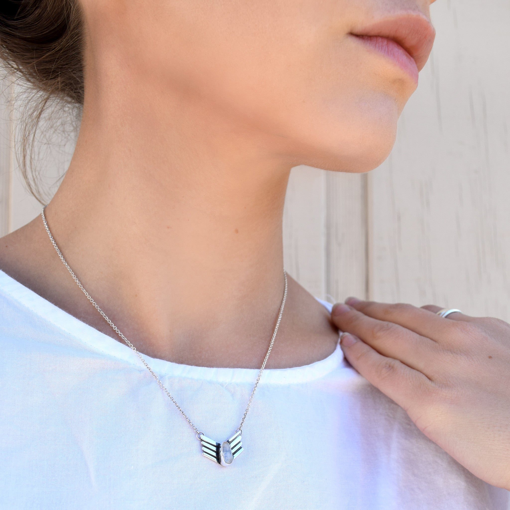 Winged Moonstone Necklace