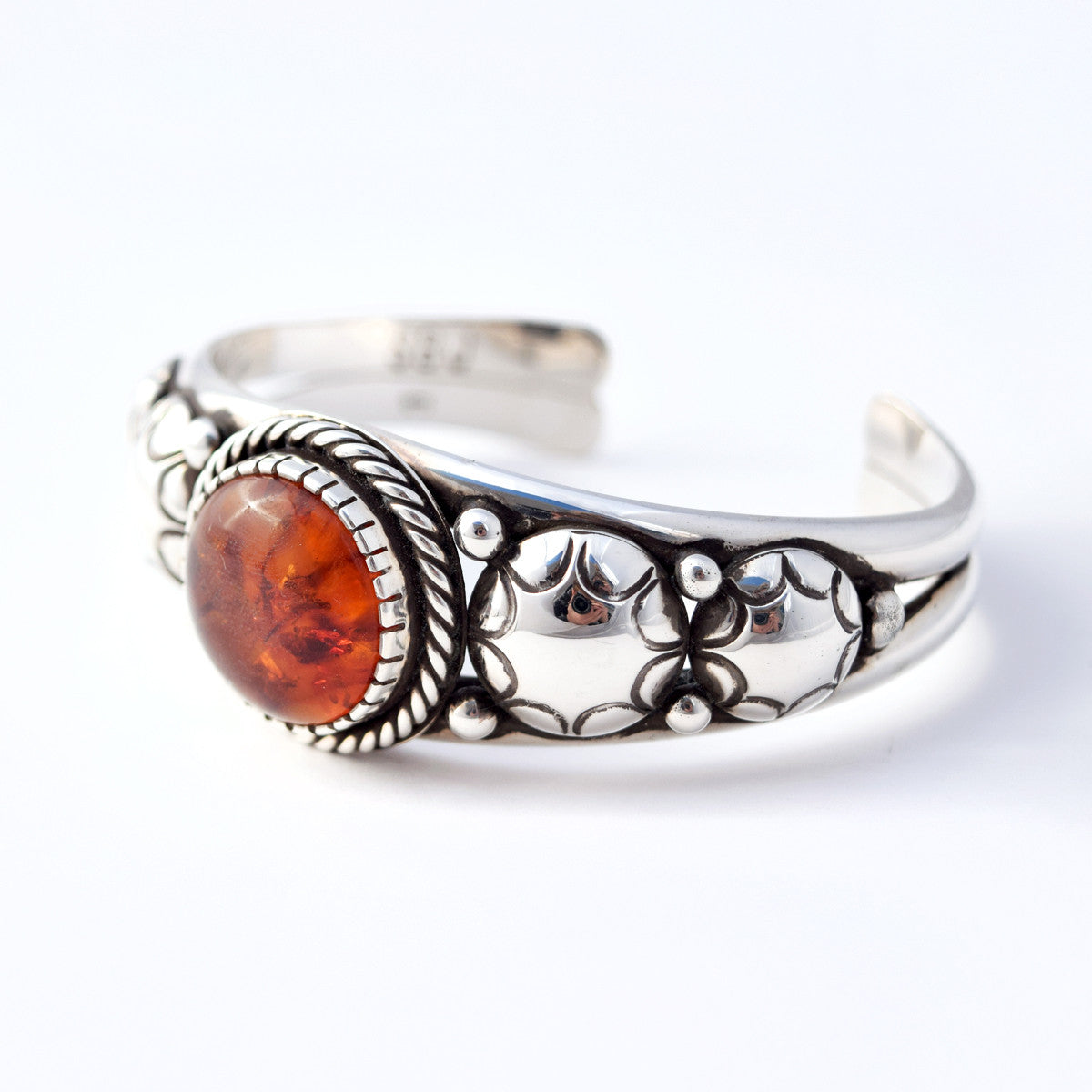 The Amber and Sterling Cuff Bracelet