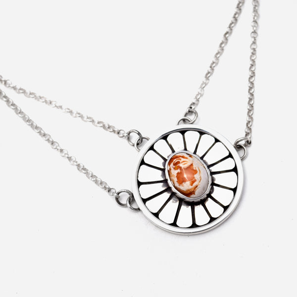 Mexican Fire Opal Rose Necklace