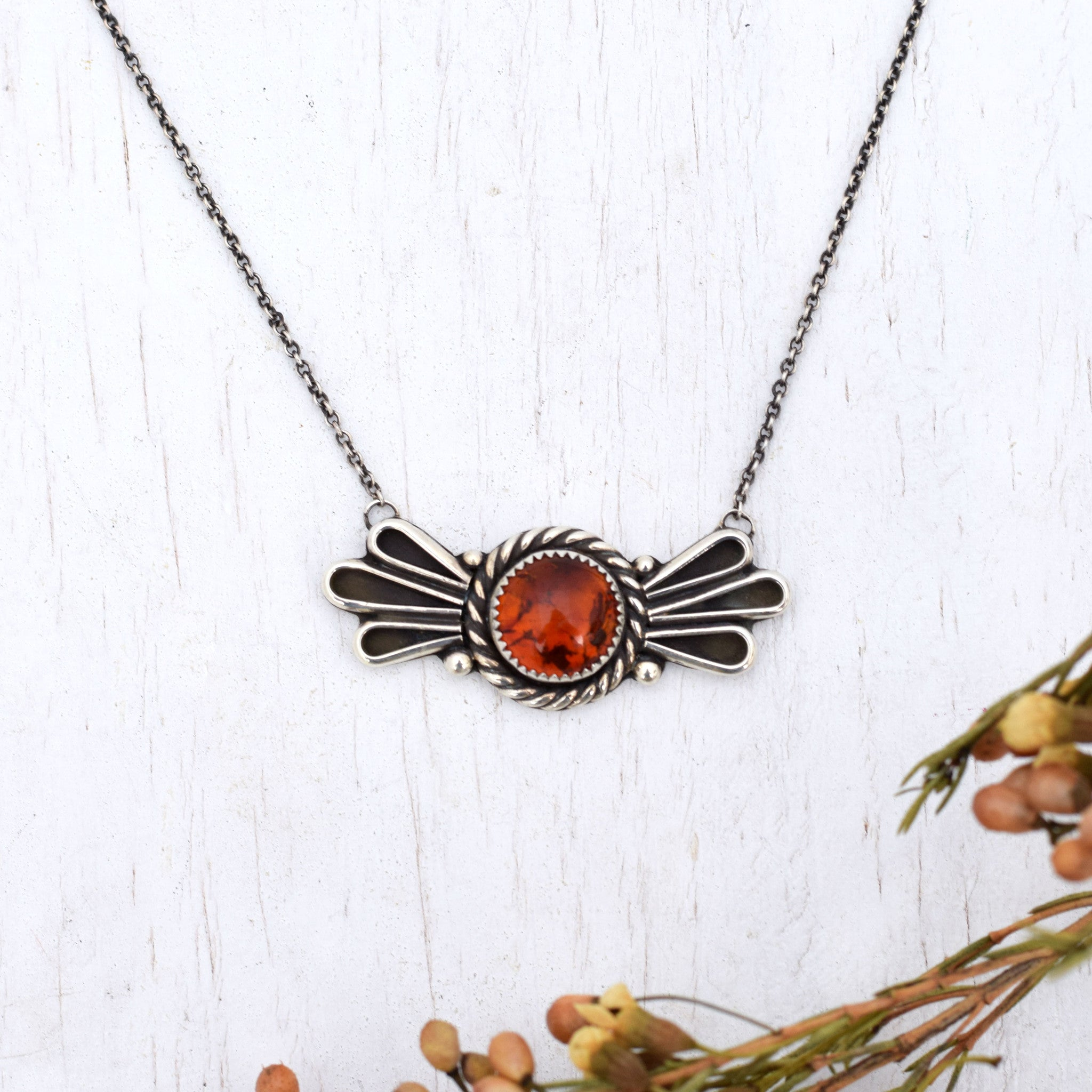 Amber Winged Necklace