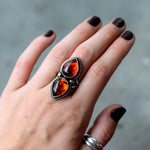 Double Amber Star Studded Ring : Size 7