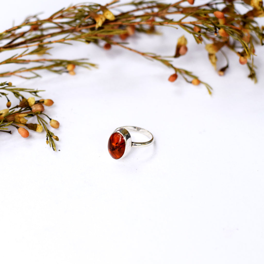 Simple Amber Ring : Size 5.75
