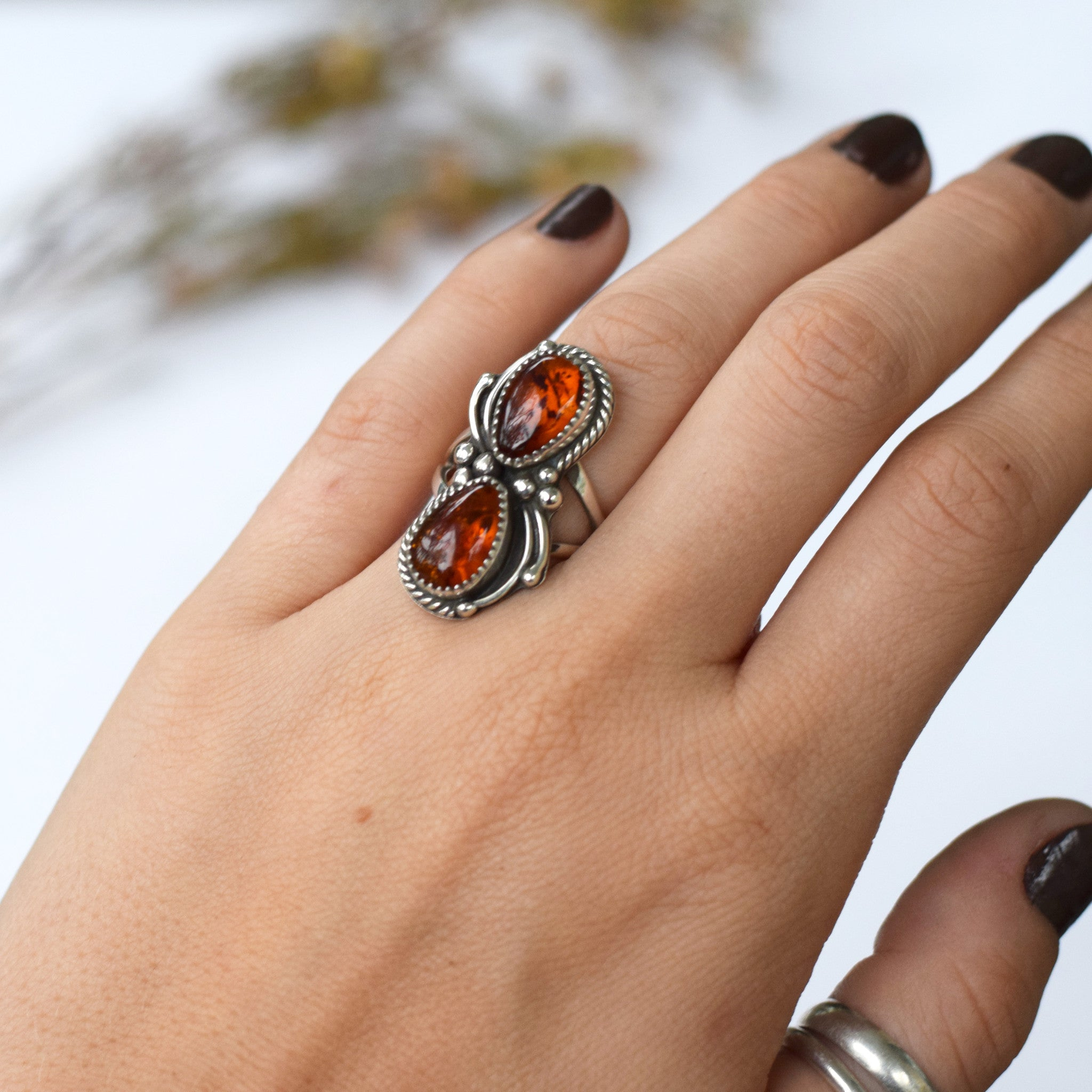 Double Amber Bittersweet Ring : Size 6.25