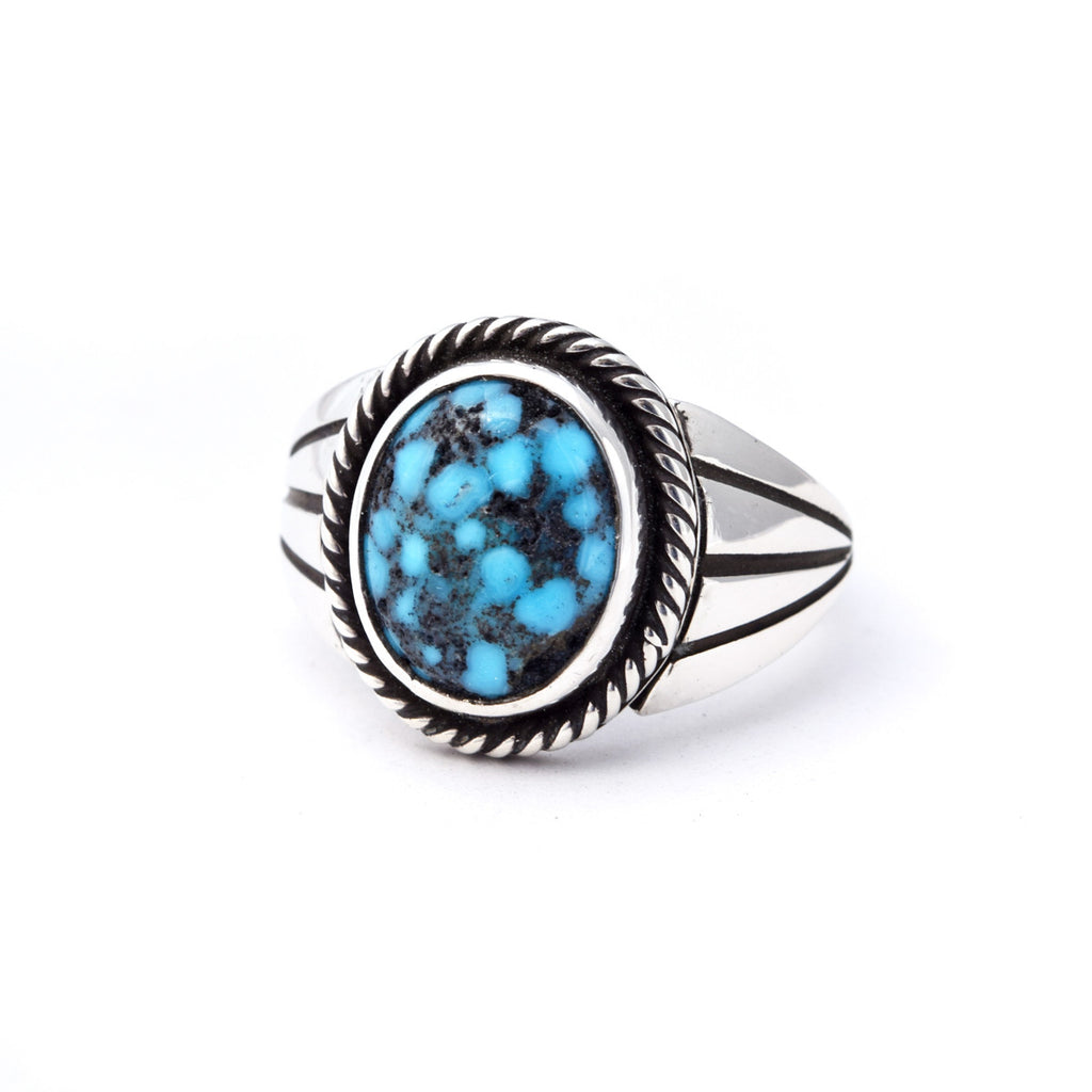 'Mac' Webbed Kingman Turquoise Ring : Size 6