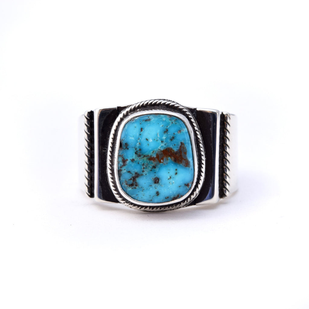 'Art' Kingman Turquoise Unisex Ring : Size 10