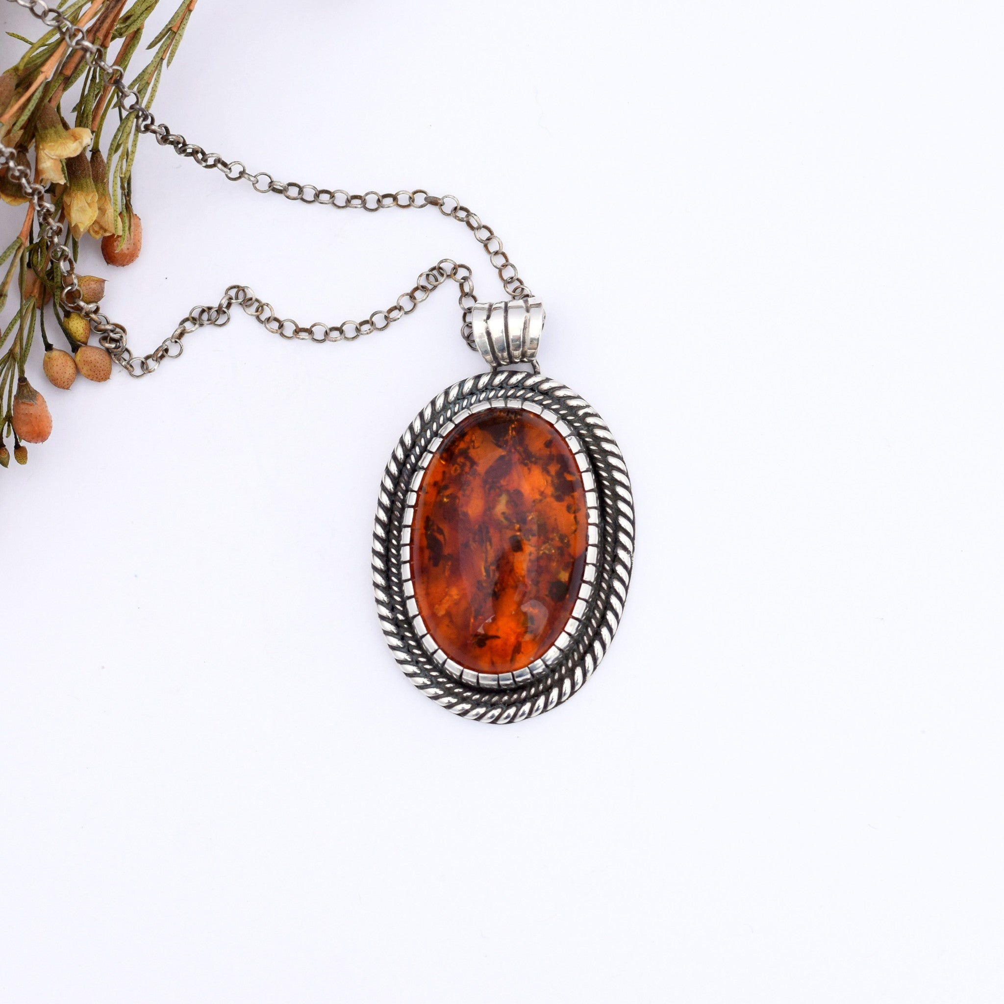 Large Amber Twist Necklace