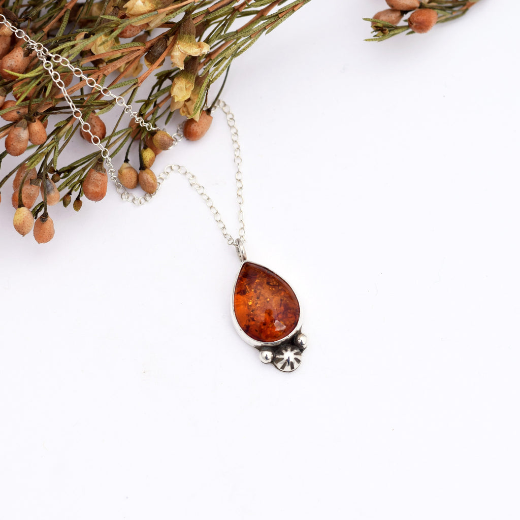 Small Amber Star Drop Necklace