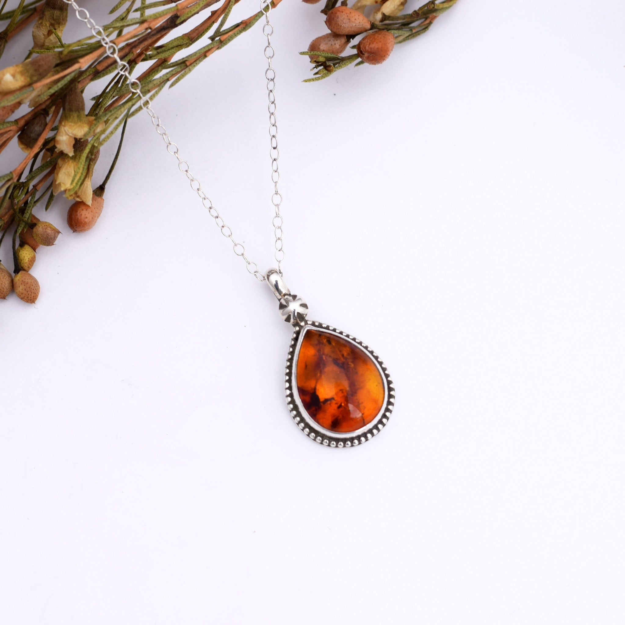Small Star Studded Amber Necklace