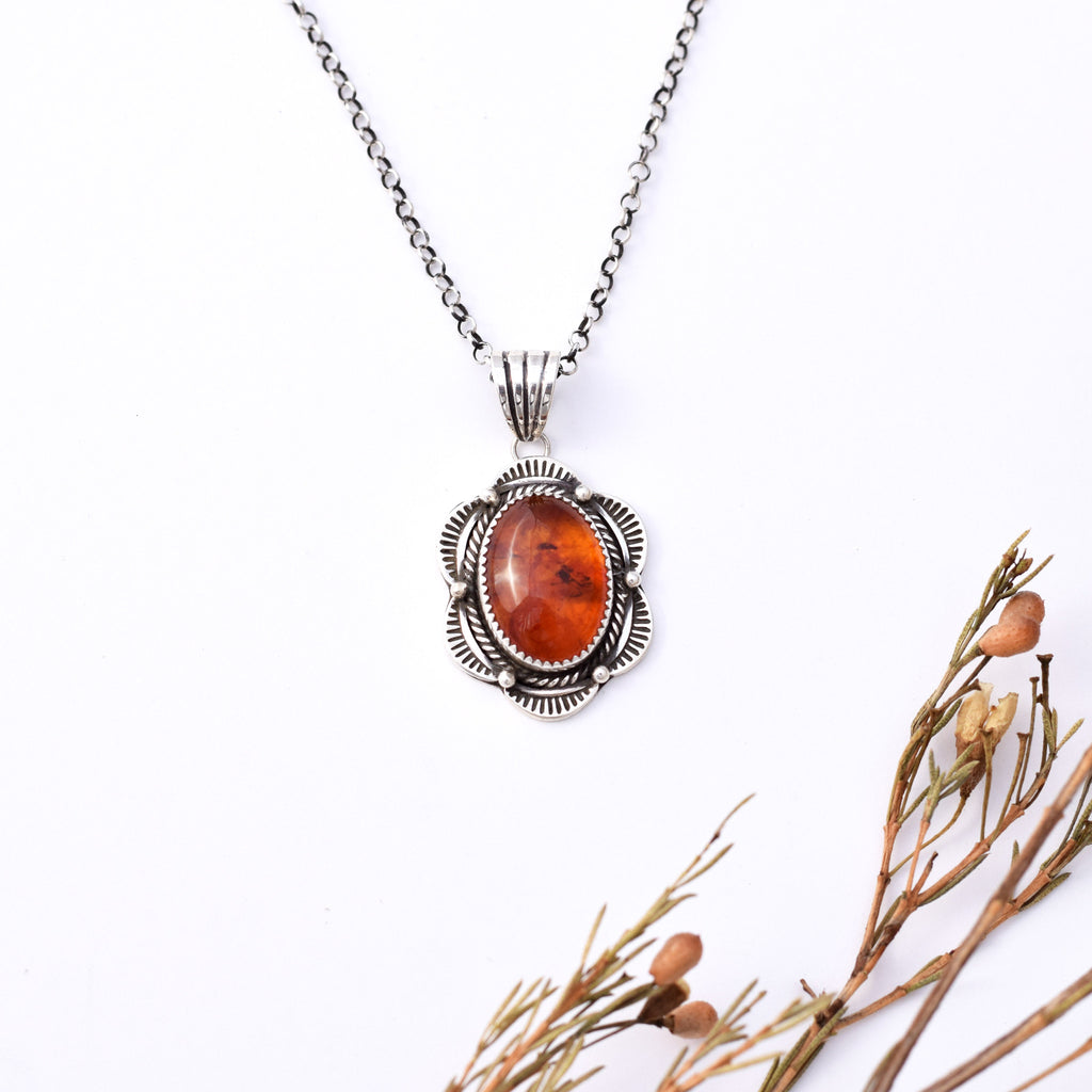 Amber Stamped Necklace