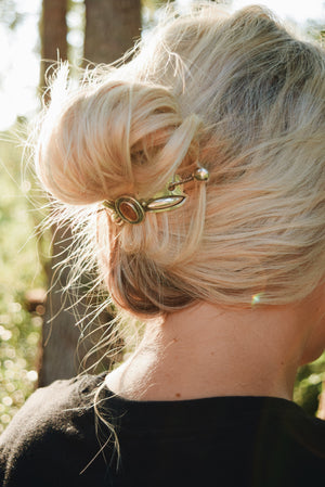 Sunstone Silver Bow Hair Pin