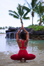 Koalani Apparel | Yoga Activewear & Workout Clothing | Koa Lava Red Pocket Leggings & Sports Bra