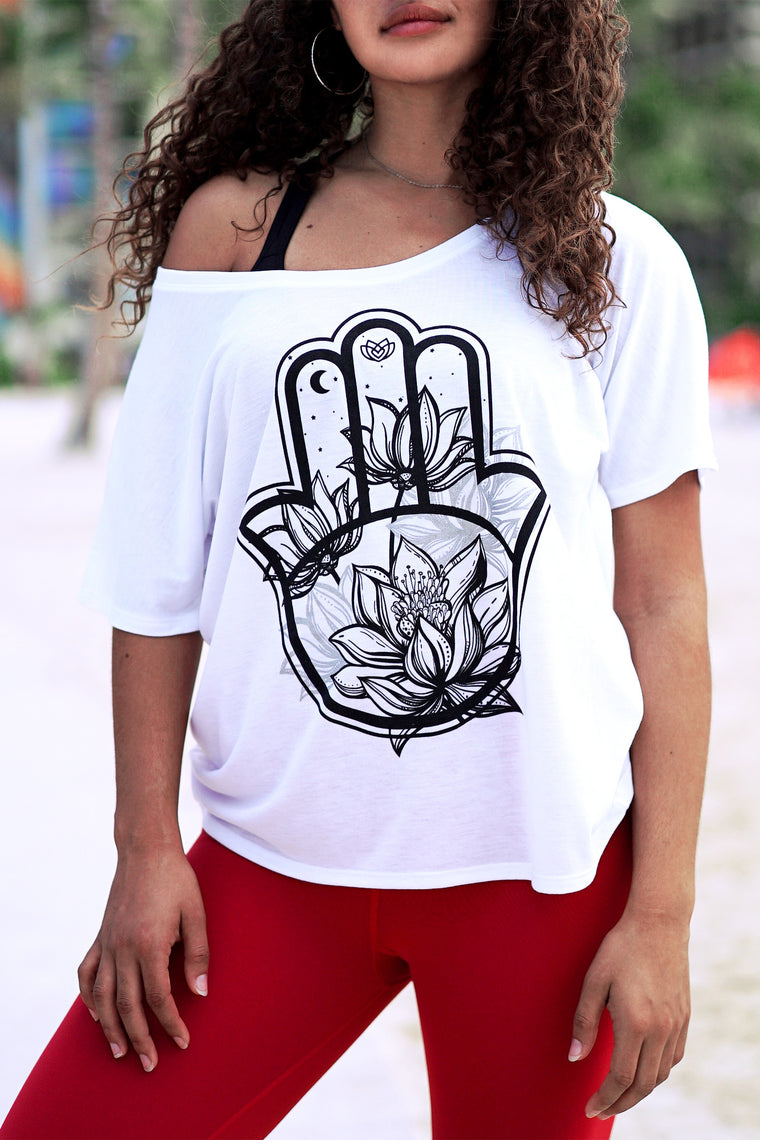 Midnight Lotus Hamsa Tee