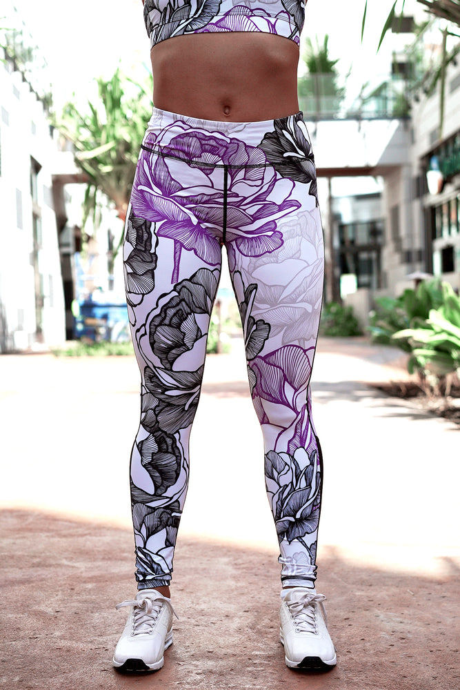 Purple Rose Leggings | Yoga & Fitness Pants | Koalani Apparel
