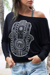 Tribal Hamsa Long Sleeve Pullover | Koalani Apparel