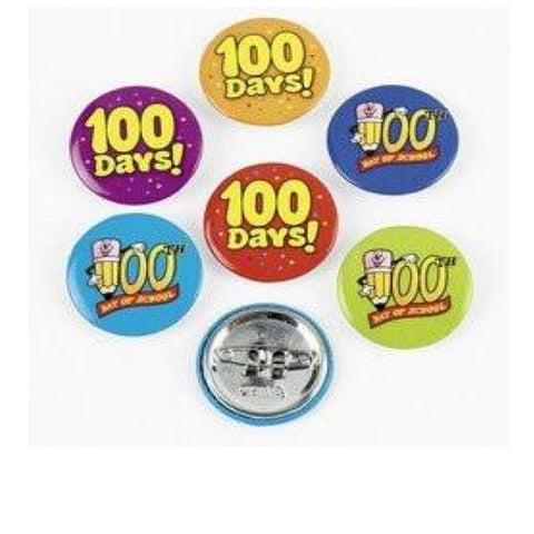 24 100th Day of School Mini Buttons