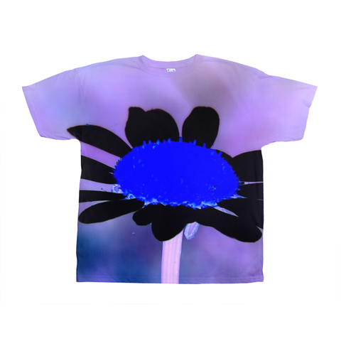 Blue Black Flower Cool All-Over Print T-Shirt For Teens