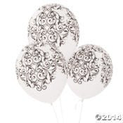 25 Latex Black and White Flourish Wedding Balloons