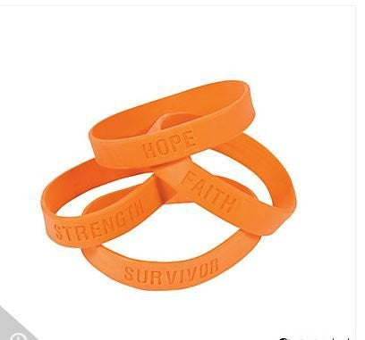 24 ORANGE SILICONE AWARENESS BRACELETS