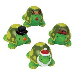 Set of 12 Vinyl Christmas Turtles, Toys, Gifts, Stocking Stuffers, Children, Collectable